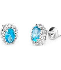 brinco ouro 18k topázio diamantes feminino