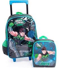 kit escolar infantil mochila de rodinha + lancheira max stell