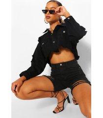 distressed crop jean jacket, washed black