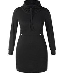 plus size cowl neck bodycon hoodie dress