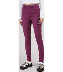 calça de sarja feminina sawary skinny lipo cintura super alta roxa