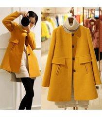 winter oversized o neck medium long wool coat women slim thickening a line trenc