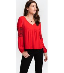 anna embroidered v-neck blouse - red
