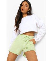 petite sweat shorts met strik, washed lime