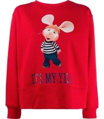 alberta ferretti topo gigio print sweatshirt - red