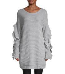70/21 women's ruffled-sleeve longline sweater - grey - size s