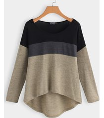 color block scoop cuello camiseta de manga larga con dobladillo alto y bajo