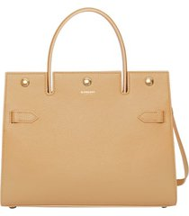 burberry small title leather bag - beige