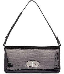 miu miu miu crystal sequin shoulder bag - black