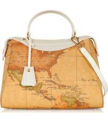 alviero martini 1a classe designer handbags, charme geo coated canvas & leather satchel bag
