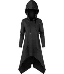kangaroo pocket drawstring high low hoodie