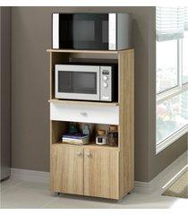 balcão multimóveis multiuso forno e microondas argila ref. 4060g 2 portas e 1 gaveta bege