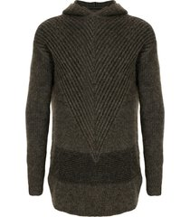 rick owens ribbed knit hoodie - brown