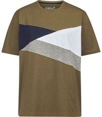 t-shirt men plus olijf::marine::wit