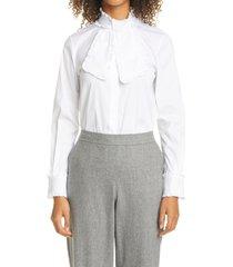 women's lafayette 148 new york rowland ruffle tie neck shirt