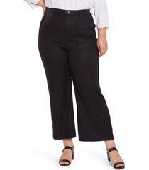 plus size women's nydj linen blend pants, size 14w - black