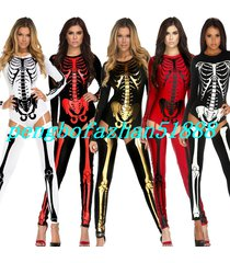 halloween fancy dress suit demon vampire body suit lycra skeleton costumes s150