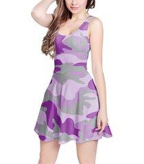 camouflage bright purple sleeveless dress