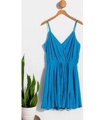 cleo surplice godet dress - blue