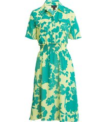 women's halogen x atlantic-pacific floral smocked utility dress, size x-large - green