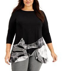 alfani plus size linear printed swing top, created for macy's