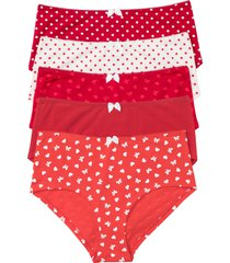 culotte a vita alta (pacco da 5) (rosso) - bpc bonprix collection