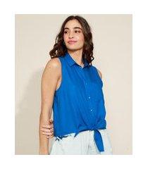 camisa feminina com nó sem manga azul
