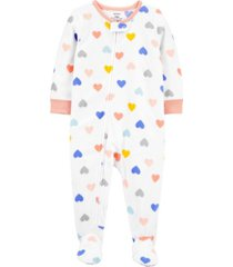 carter's toddler girl 1-piece heart fleece footie pjs