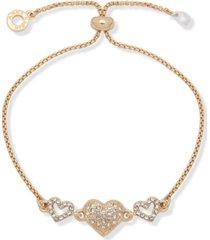 anne klein gold-tone crystal heart slider bracelet