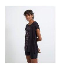 camiseta esportiva manga curta sem cava estampa passion | get over | preto | m