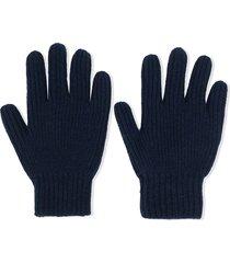 bonpoint ribbed knit cashmere gloves - blue