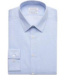 calvin klein blue mist print slim fit performance wicking dress shirt