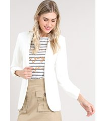 blazer feminino acinturado com martingale off white