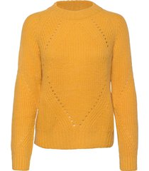 fuzzy knit with cable stitches gebreide trui geel scotch & soda