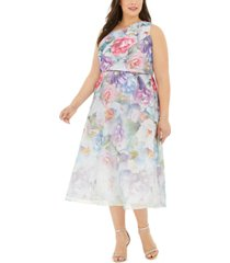 adrianna papell plus size one-shoulder floral organza dress