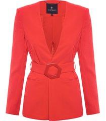blazer feminina helena fivela - vermelho
