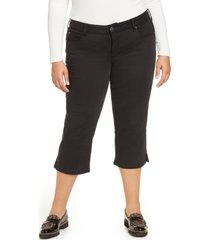 slink jeans slit hem crop straight leg jeans, size 24w in solid black at nordstrom