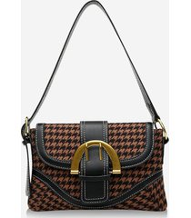 retro houndstooth print shoulder bag