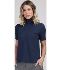 blusa feminina canelada manga curta gola alta azul escuro