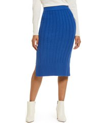 women's halogen ribbed sweater skirt, size small - blue