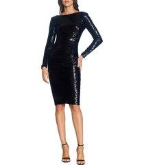 women's dress the population emilia sequin long sleeve cocktail dress, size x-large - black