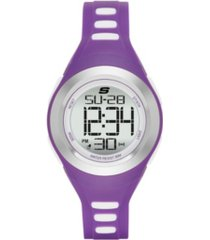 skechers women's purple silicone digital chronograph watch, 40mm