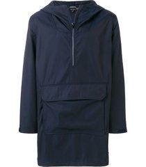 a.p.c. longline half zip hooded jacket - blue