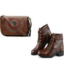 kit bolsa mandala + bota cano curto cadarco alice monteiro feminina - feminino