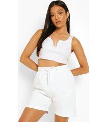 petite jersey boxer shorts met hoge taille, white