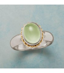 glowing prehnite ring