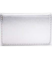 katy covered metal card case - silver