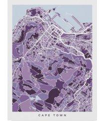 "michael tompsett cape town south africa city street map purple canvas art - 20"" x 25"""