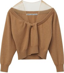 cropped drape neck pullover