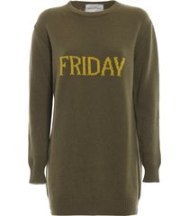 alberta ferretti friday green long crewneck sweater